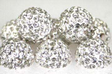 10mm Clear 115 Stone  Pave Crystal Beads- Half Drilled PCBHD10-115-003